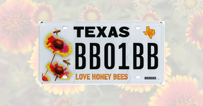 "Texans ""Love Honey Bees"" with New License Plate"
