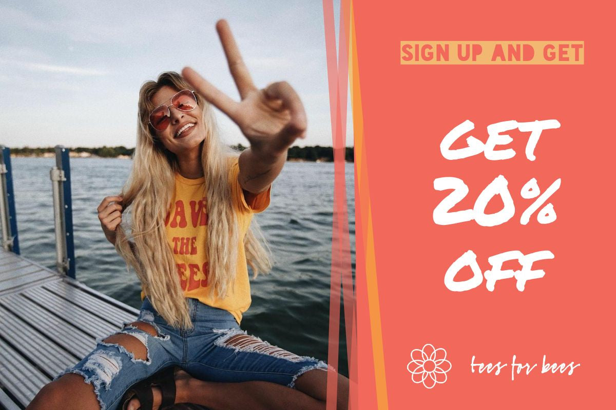Tees for Bees 20% off promo image with girl sitting on the dock