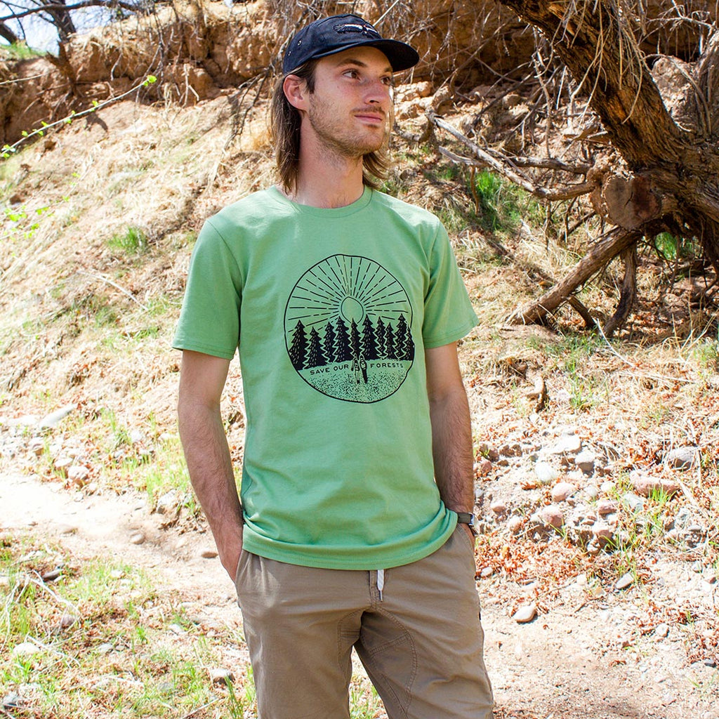 Male model wearing Honeycomb Hippie Save our Forests Organic Cotton T-shirt outdoors