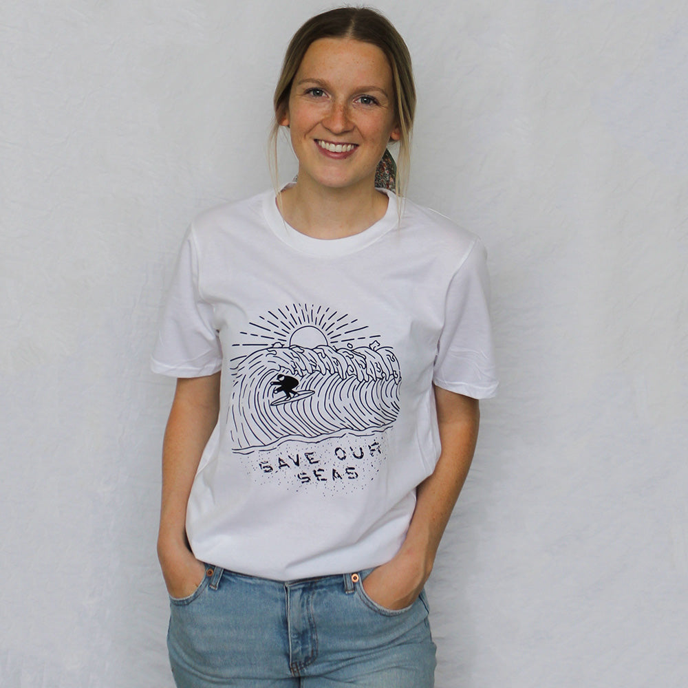 Female model wearing Honeycomb Hippie Save our Seas Organic Cotton T-shirt