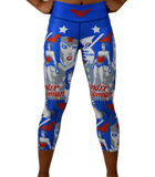 wonder woman capris royal blue