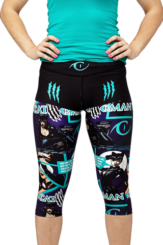 Catwoman capri teal/purple