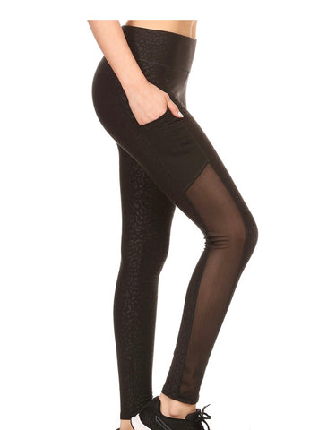 Black Embossed Floral Print High Waist Leggings