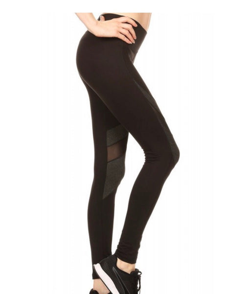 Black Color Block, High Waist Workout Pants