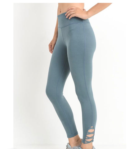 Light Teal Blue Lattice Leggings With Strap Criss-Cross Cutout Accent (Only 1 Left)