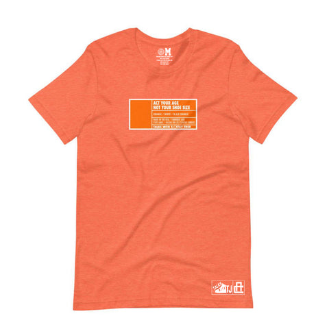 Act Your Age Box Label Tee - Orange - Pre-Order
