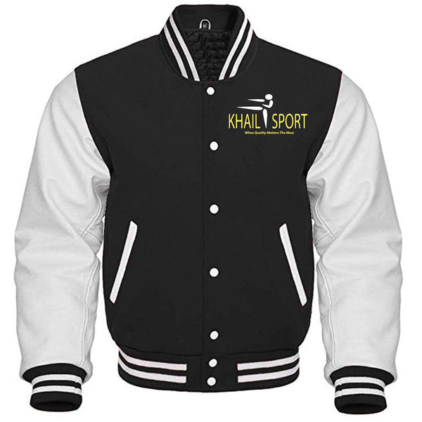Custom Wool Varsity Jackets With Genuine Leather Sleeve