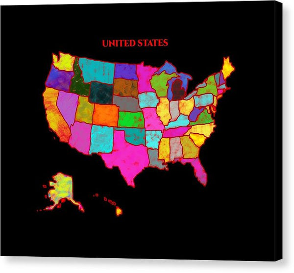 United States Of America, Map, Artist Singh, - Canvas Print