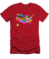 United States Of America, Map, Artist Singh, - Men's T-Shirt (Athletic Fit)