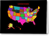 United States Of America, Map, Artist Singh, - Greeting Card