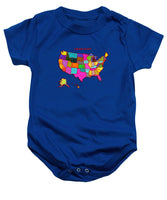 United States Of America, Map, Artist Singh, - Baby Onesie