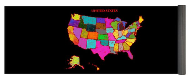 United States Of America, Map, Artist Singh, - Yoga Mat