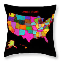 United States Of America, Map, Artist Singh, - Throw Pillow