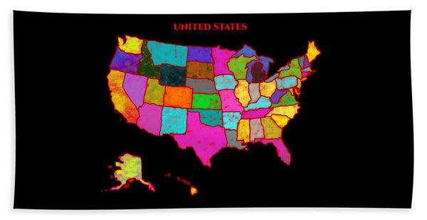 United States Of America, Map, Artist Singh, - Beach Towel