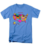 United States Of America, Map, Artist Singh, - Men's T-Shirt  (Regular Fit)