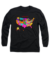 United States Of America, Map, Artist Singh, - Long Sleeve T-Shirt