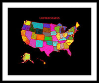 United States Of America, Map, Artist Singh, - Framed Print
