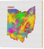 Ohio, Usa, Map, Artist Singh, - Wood Print