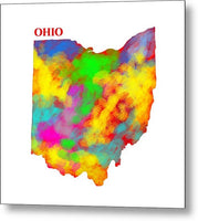 Ohio, Usa, Map, Artist Singh, - Metal Print