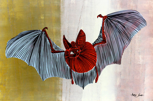 "BAT 7731, Artist SinGh, 27""x40"", mix media, print on canvas"
