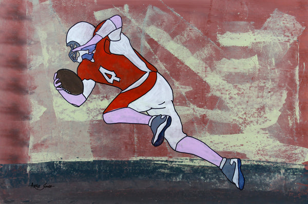 "7704,  football player, Artist SinGh mixed media on paper w 27""x h 40"" SirSingh Collection"