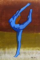 "7705, A dancer , 27""x40"", mixed media on paper, Artist Singh"