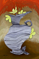 "DANCING VASE 7841, Artist SinGh, 24""x36"", mixed media on paper"