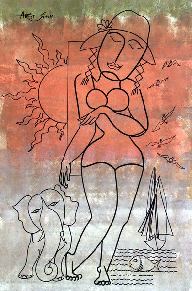 the elephant girl by artist singh