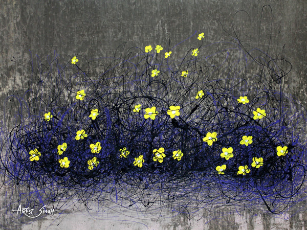Yellow flowers in mesh by artist singh