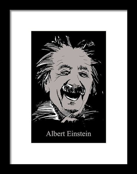 Albert Einstein In Grey - Framed Print