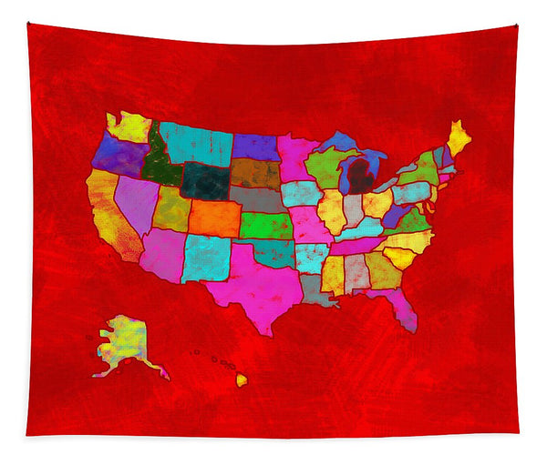 Citizenship, Us Map, Red, Artist Singh - Tapestry