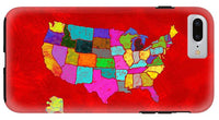 Citizenship, Us Map, Red, Artist Singh - Phone Case