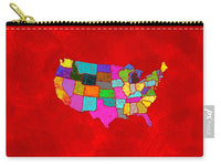 Citizenship, Us Map, Red, Artist Singh - Carry-All Pouch