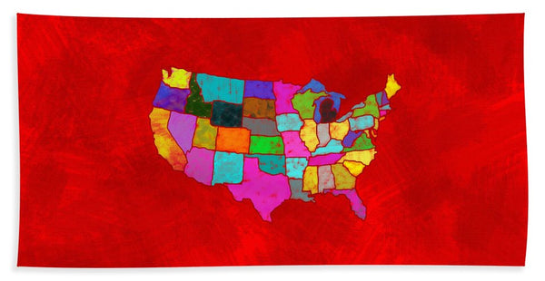 Citizenship, Us Map, Red, Artist Singh - Bath Towel