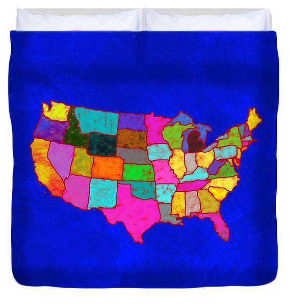 Citizenship, Us Map, Blue, Artist Singh - Duvet Cover