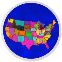 Citizenship, Us Map, Blue, Artist Singh - Round Beach Towel
