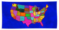 Citizenship, Us Map, Blue, Artist Singh - Beach Towel