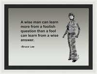 Bruce Lee On Learning  - Framed Print
