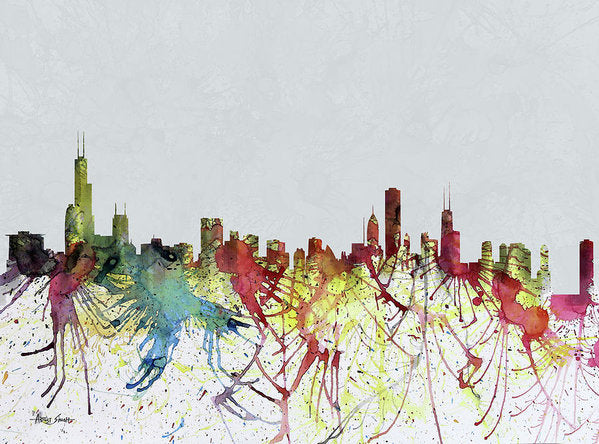 Chicago Skyline, Water Color,  Artist Singh - Art Print
