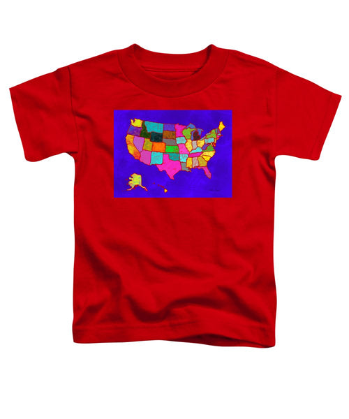 Citizenship, Us Map, Blue, Artist Singh - Toddler T-Shirt