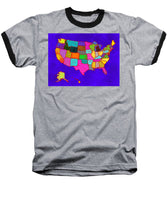 Citizenship, Us Map, Blue, Artist Singh - Baseball T-Shirt