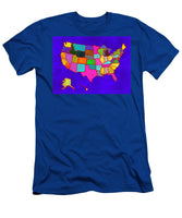 Citizenship, Us Map, Blue, Artist Singh - Men's T-Shirt (Athletic Fit)