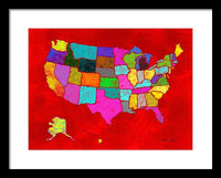 Citizenship, Us Map, Red, Artist Singh - Framed Print