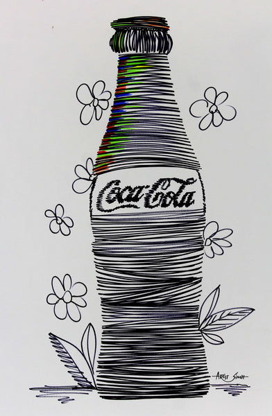 "Coke Bottle, 7831, Artist SinGh, 24""x36"". mixed media on paper"