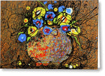 Flower Vase, 7895, 20x24, Artist Singh, Drip Painting - Greeting Card