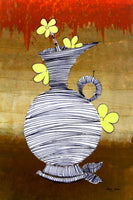 Vase with yellow flowers, 7841, Artist SInGh, Mixed media on Paper