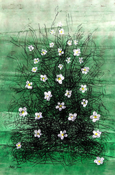 "FLOWERS 7851, Artist SinGh, 24""x36"", Mixed media on paper"