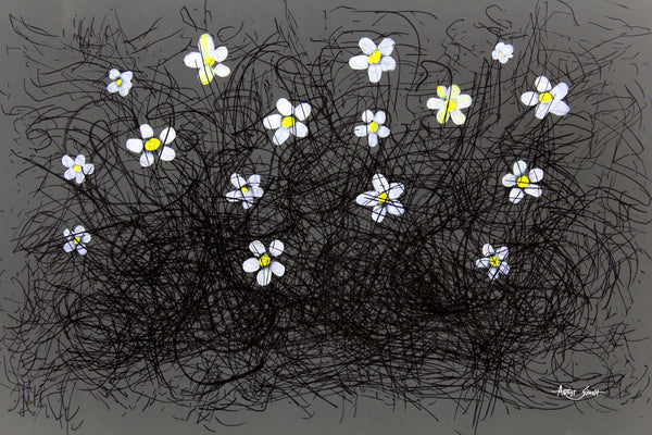 "FLOWERS 7856, Artist SinGh, 24""x36"", Mixed media on paper"