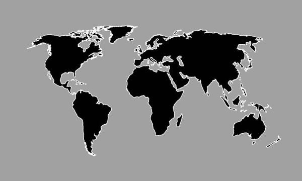 Grey Black And White Outlines World Map By Artist Singh - Art Print