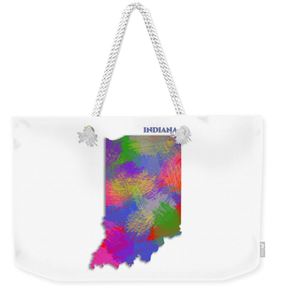 Indiana, Usa, Map, Artist Singh - Weekender Tote Bag